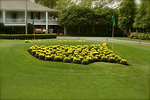 The logo for the Masters Tournament made of fl...