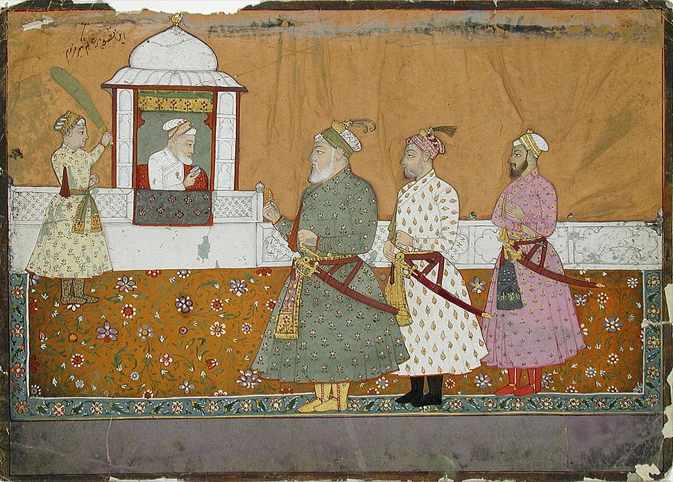 Aurangzeb in a pavilion with three courtiers below (6124546713)