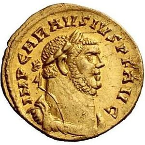 Carausian Revolt - Portrait of Carausius on a gold aureus issued 2 the revolt.