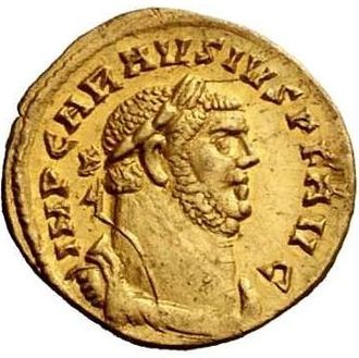 Carausian Revolt - Portrait of Carausius on a gold aureus issued during the revolt.