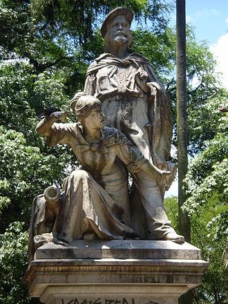 Anita Garibaldi - Anita and Giuseppe Garibaldi, memorialized in Praça Garibaldi, Azenha, Porto Alegre, Brazil