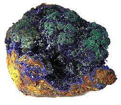 Azurite and Malachite, from Concepción del Oro, 5.2 × 4.4 × 3.2 cm