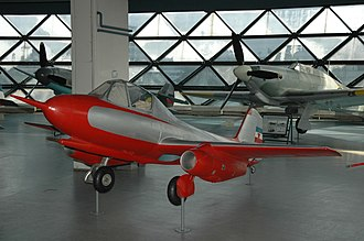 Ikarus 451 - The first Yugoslavian jet aircraft Ikarus S-451 M on display at the Museum of Aviation in Belgrade, Serbia.