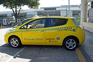 Electric car use by country - Nissan Leaf operating as a taxi at Santos Dumont airport as part of a demonstrations program in Rio de Janeiro.