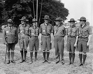 National Scout jamboree (Boy Scouts of America) - BSA leadership at the 1937 jamboree: E. Urner Goodman, Program Director (3rd from left) Walter Head, BSA President (center) James E. West, Chief Scout Executive (3rd from right)