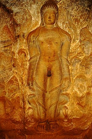 Jainism in North Karnataka -  Bahubali in Jain Cave temple No. 4 at Badami, 6th century