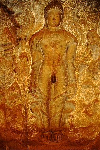 Bahubali - Sculpture depicting Bahubali's meditation in Kayotsarga posture with vines enveloped around his body (Photo: Badami caves)