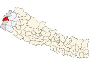 Baitadi District i Mahakali Zone (grå) i Far-Western Development Region (grå + lysegrå)