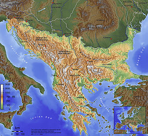 The Balkan peninsula as defined by the Soča-Kr...