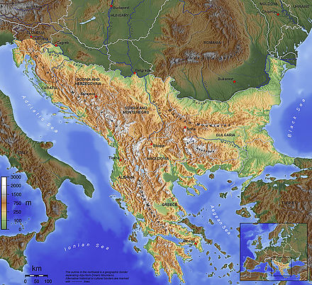 The Balkan Peninsula, as defined by the Soča–Vipava–Krka–Sava–Danube border. Balkan topo en.jpg