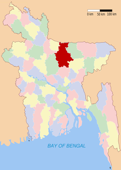 Location of Mymensingh in Bangladesh