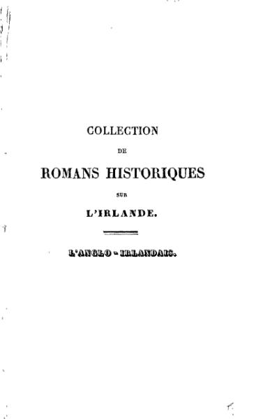 File:Banim - L'Anglo-irlandais du XIXe siècle, trad. Defauconpret, tome I, 1829.djvu