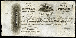 "A piece of paper headed with a coat of arms and the words ""One Dollar, Bank of Poyais"", with smaller writing beneath."