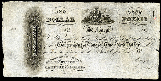 Bank of Poyais-1 Hard Dollar (1820s) SCAM