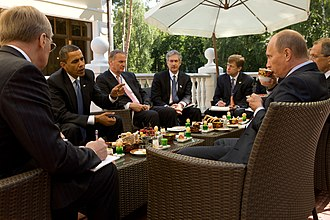 Putin receives Barack Obama at his residence in Novo-Ogaryovo, 2009 Barack Obama and Prime Minister Vladimir Putin.jpg