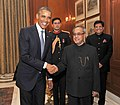 Barack Obama calling on the President, Shri Pranab Mukherjee, at Rashtrapati Bhavan, in New Delhi. The Minister of State (Independent Charge) for Power, Coal and New and Renewable Energy, Shri Piyush Goyal is also seen.jpg