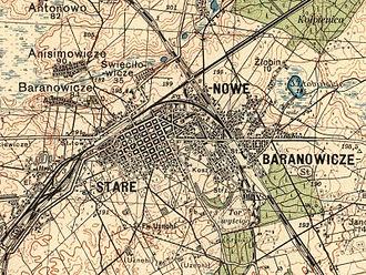 Junction (rail) - A junction in Baranowicze, Poland, 1934 (since 1939 in Belarus)