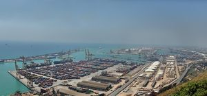 View of Barcelona harbour from Montjuic hill
