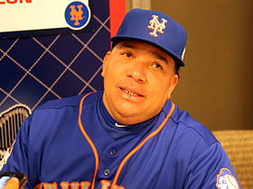 Bartolo Colon talks to reporters on -WSMediaDay (22279334163).jpg