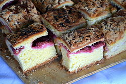 Slices of plum cake with a plum filling