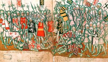 The Battle of Worringen, illustration from Brabantsche Yeesten by Jan van Boendaele (approx. 1316–1350)