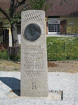 Memorial for Joseph Baumgartner, former bavarian minister