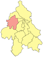 Location of Surčin within the city of Belgrade