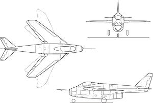 Orthographically projected diagram of the Bell X-5.