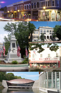 Clockwise, from top: Downtown Bentonville, Benton County Courthouse, Sam Walton's وال مارٹ سٹورز, Crystal Bridges Museum of American Art, and the Confederate Soldier Monument