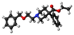 Ball-and-stick model of the benzethidine molecule