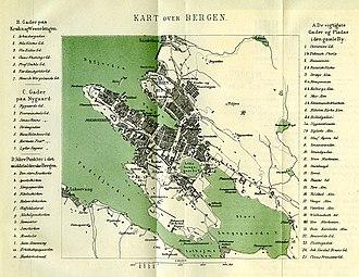 Puddefjorden - Image: Bergenskart 1877