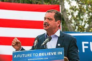 """Jesús """"Chuy"""" García - García at a Bernie Sanders rally in Los Angeles, California, May 2016"""