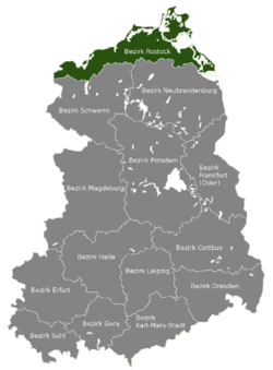 Location of Bezirk Rostock within the German Democratic Republic