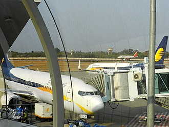 Raja Bhoj Airport - View of the apron from the terminal.