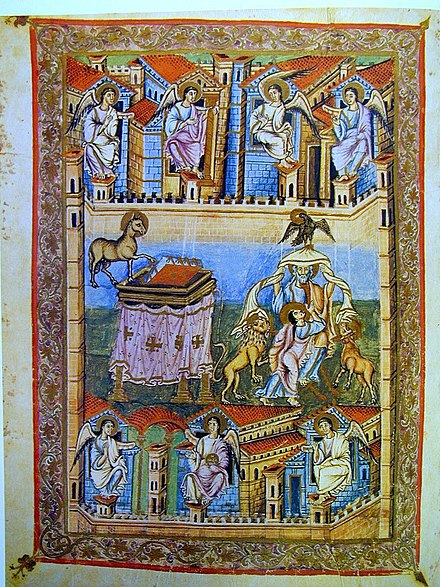 Frontispiece, Book of Revelation, Bible of San Paolo fuori le Mura, 9th century BibleSPaoloFol331vFrontRev.jpg