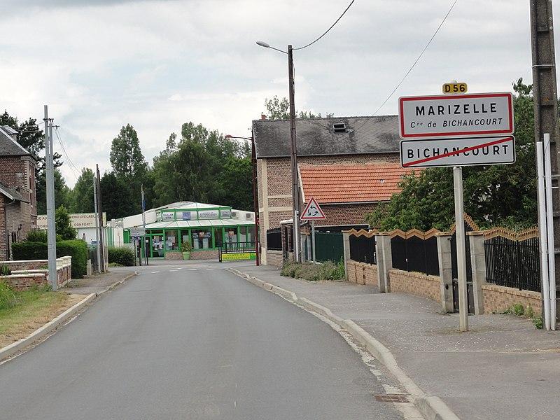 Bichancourt (Aisne) city limit sign Marizelle