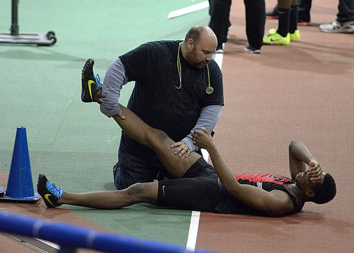 Bishop Loughlin Games - Armory - Track & Field - pulled muscle (11609407975)
