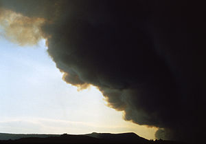 Black smoke obscures the sun