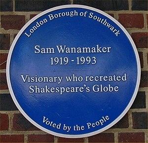 Sam Wanamaker - Plaque honoring Wanamaker's restoration