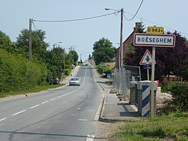 Boëseghem (Nord, Fr) city limit sign.JPG