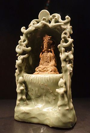 "Celadon - Ming shrine, the figure left unglazed in the ""biscuit"" state"