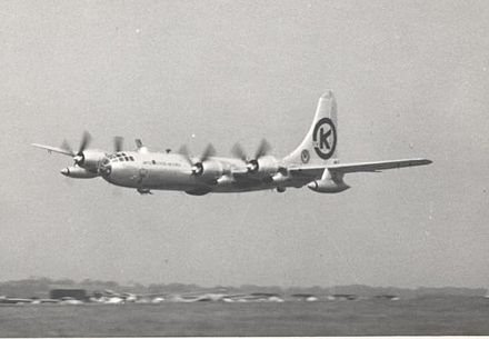 Boeing B-50D of Fifteenth Air Force displaying while on detachment to England in May 1953