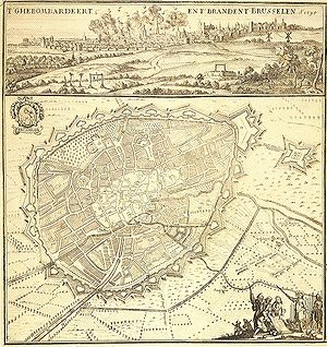 Bombardment of Brussels - A contemporary map and illustration of the 1695 bombardment of Brussels and the subsequent fire