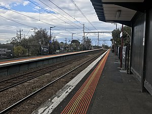 Bonbeach Station, southbound view from Platform 1 in July 2018.jpg