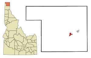 Boundary County Idaho Incorporated and Unincorporated areas Bonners Ferry Highlighted.svg