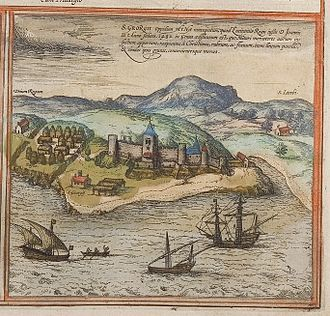 Elmina Castle - Elmina Castle viewed from the sea in 1572. Notice Portuguese ships in foreground and African houses/town shown in left hand corner and in various areas around the fort.