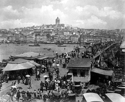 View of Galata (Karakoy) and the Galata Bridge on the Golden Horn, c. 1880-1893 Bridge and Galata Area, Istanbul, Turkey by Abdullah Freres, ca. 1880-1893 (LOC).jpg