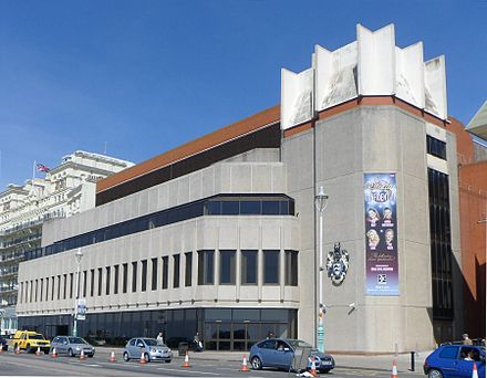Events at the Brighton Centre are important to Brighton's economy. Brighton Centre, Kings Road, Brighton (from SE) (April 2013).JPG