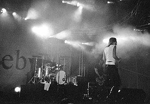 Briskeby - Briskeby's Lise Karlsnes on stage during  the 2001 Roskilde Festival in Denmark.