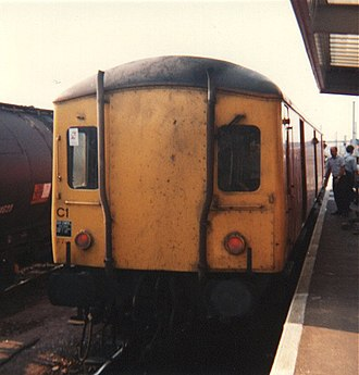 Rail Express Systems - 55993 at Peterborough platform 5 in the late 1980s, in Post Office Red livery (gangways have been removed)